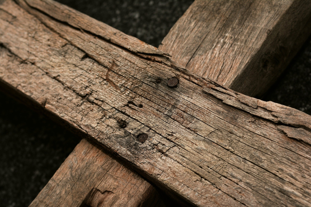 close-up of wooden cross
