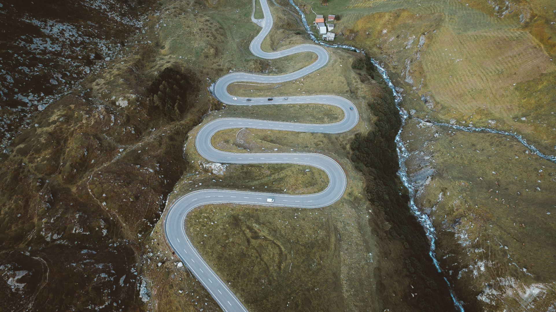 aerial photo of winding road