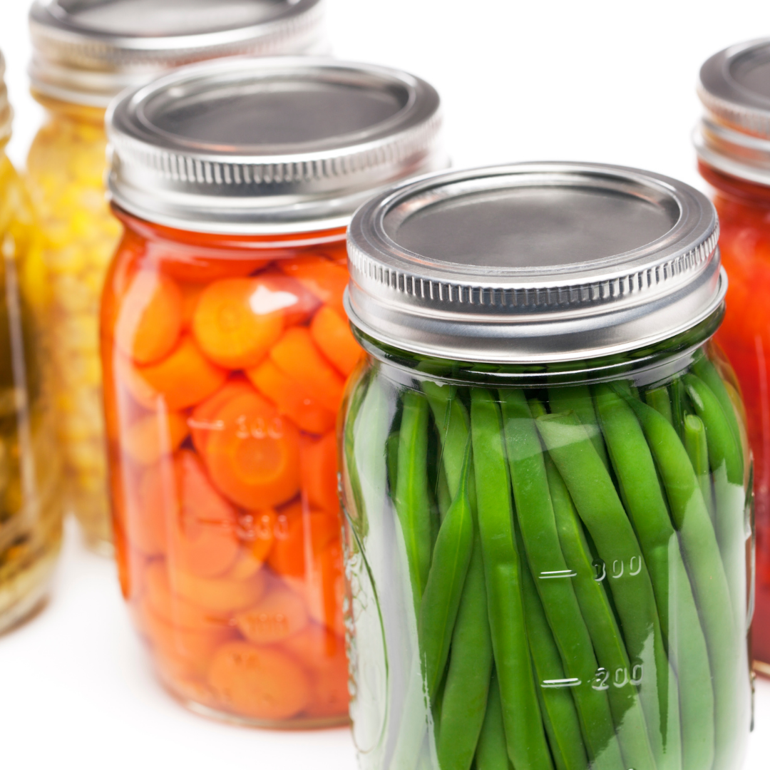 canning jars with vegetables