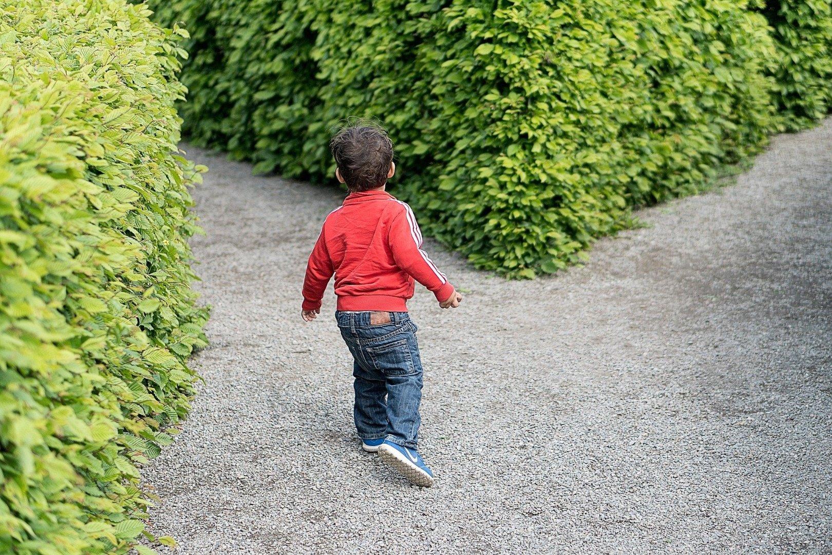 little boy running toward a fork in the road