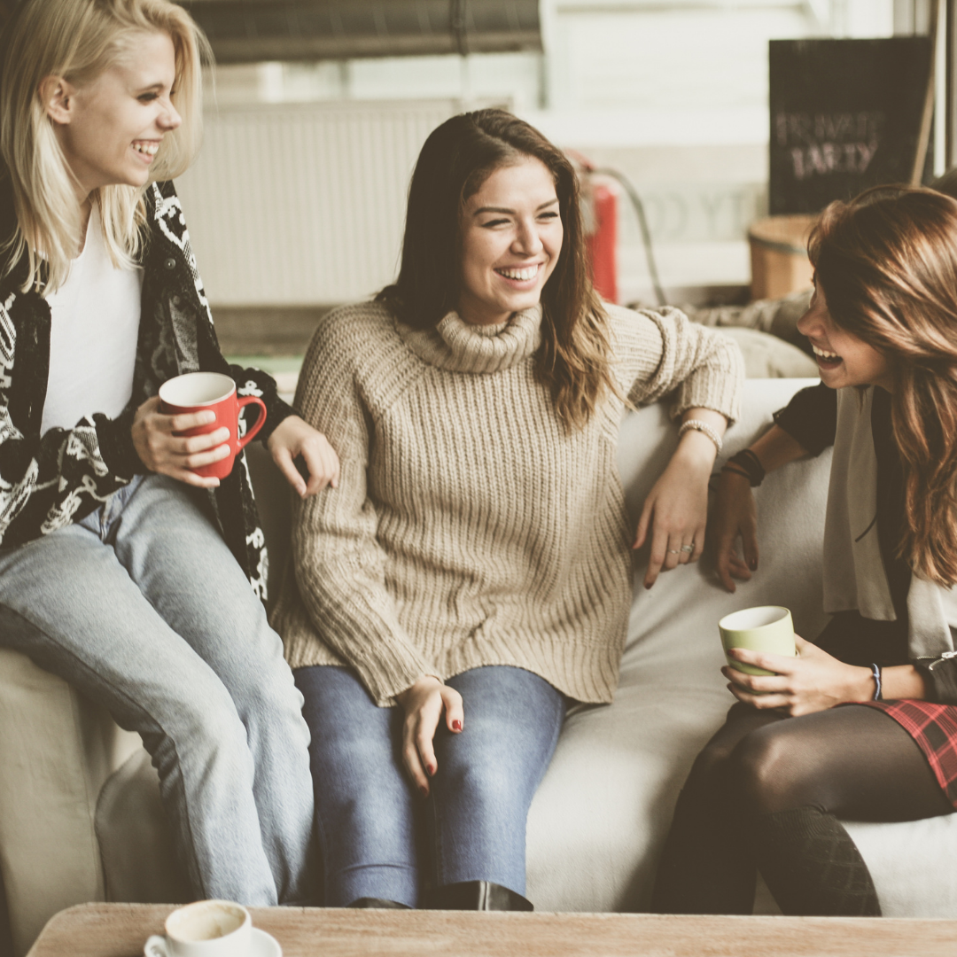 3 women talking over coffee