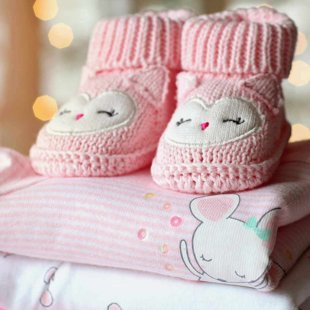 pink baby blankets and booties