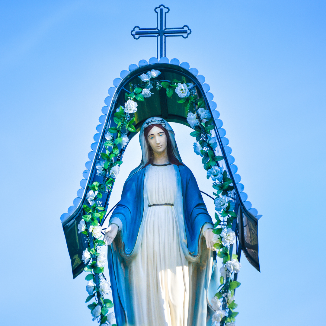 statue of Mary with flowers growing along a border