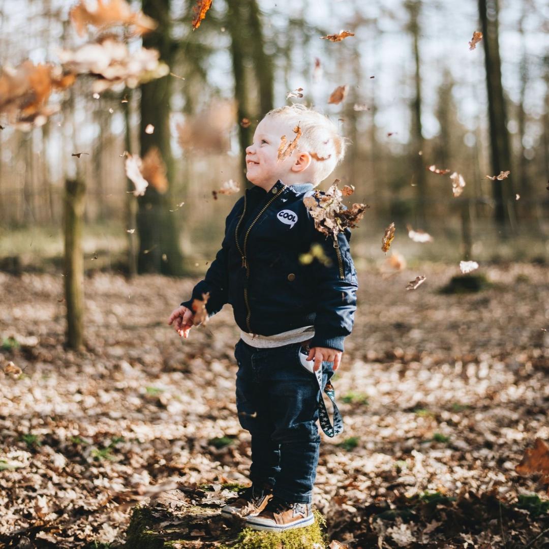little boy playing among falling leaves