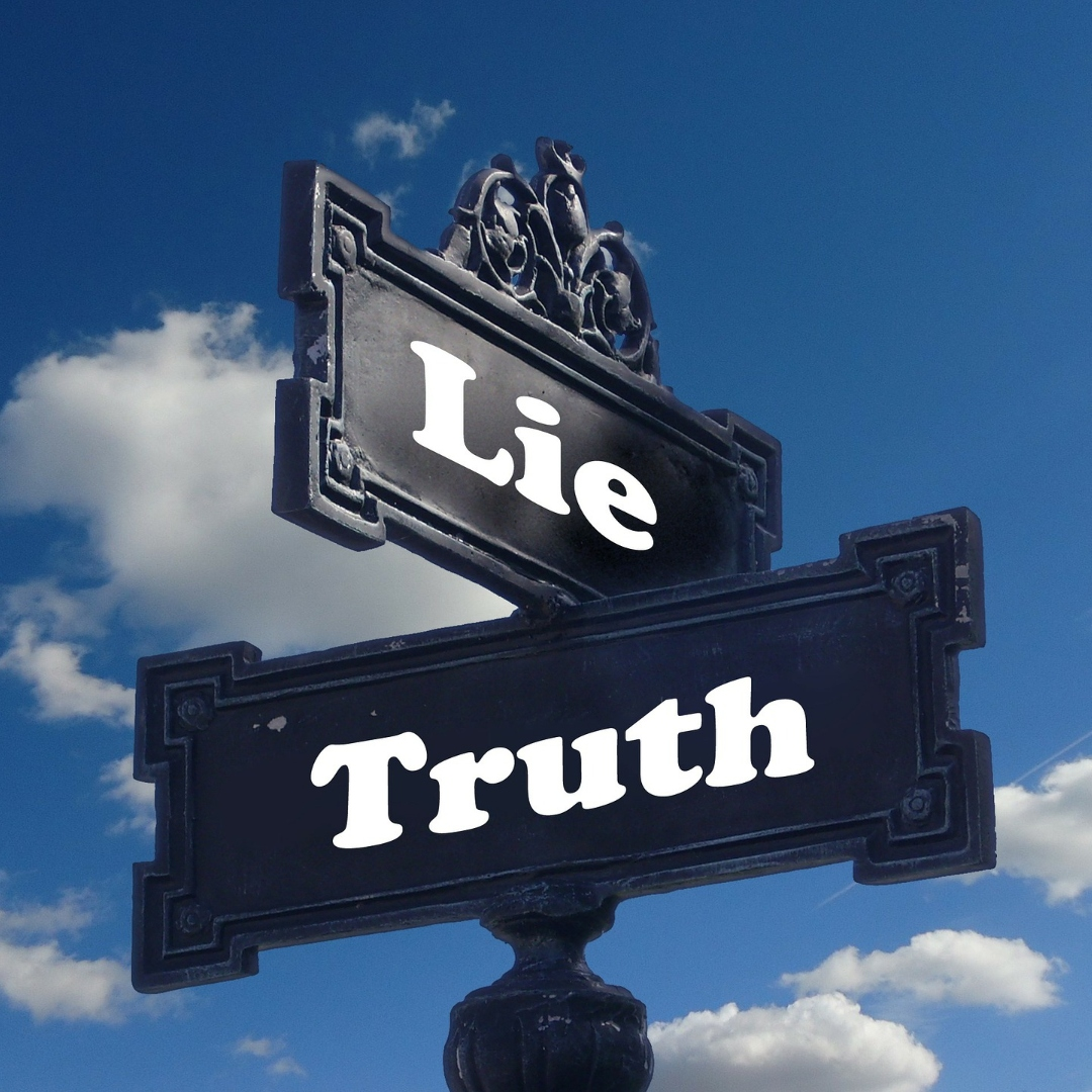 """sign with """"lie"""" and """"truth"""" on it"""