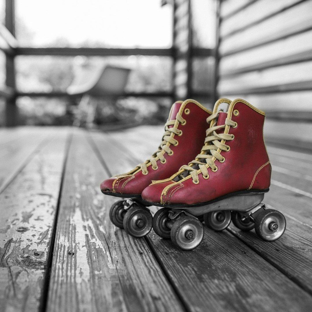 roller skates on a porch
