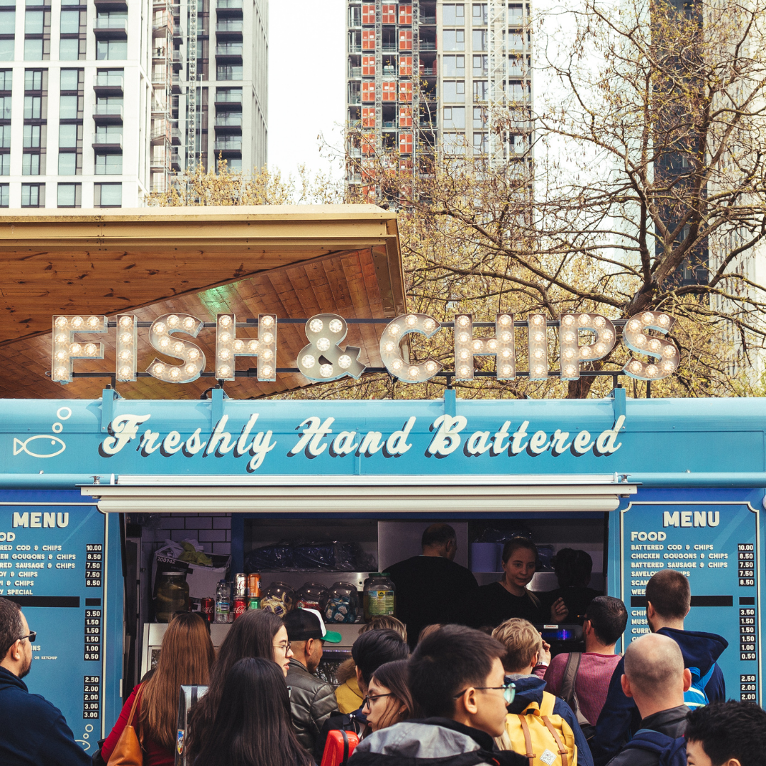 food truck with fish and chips