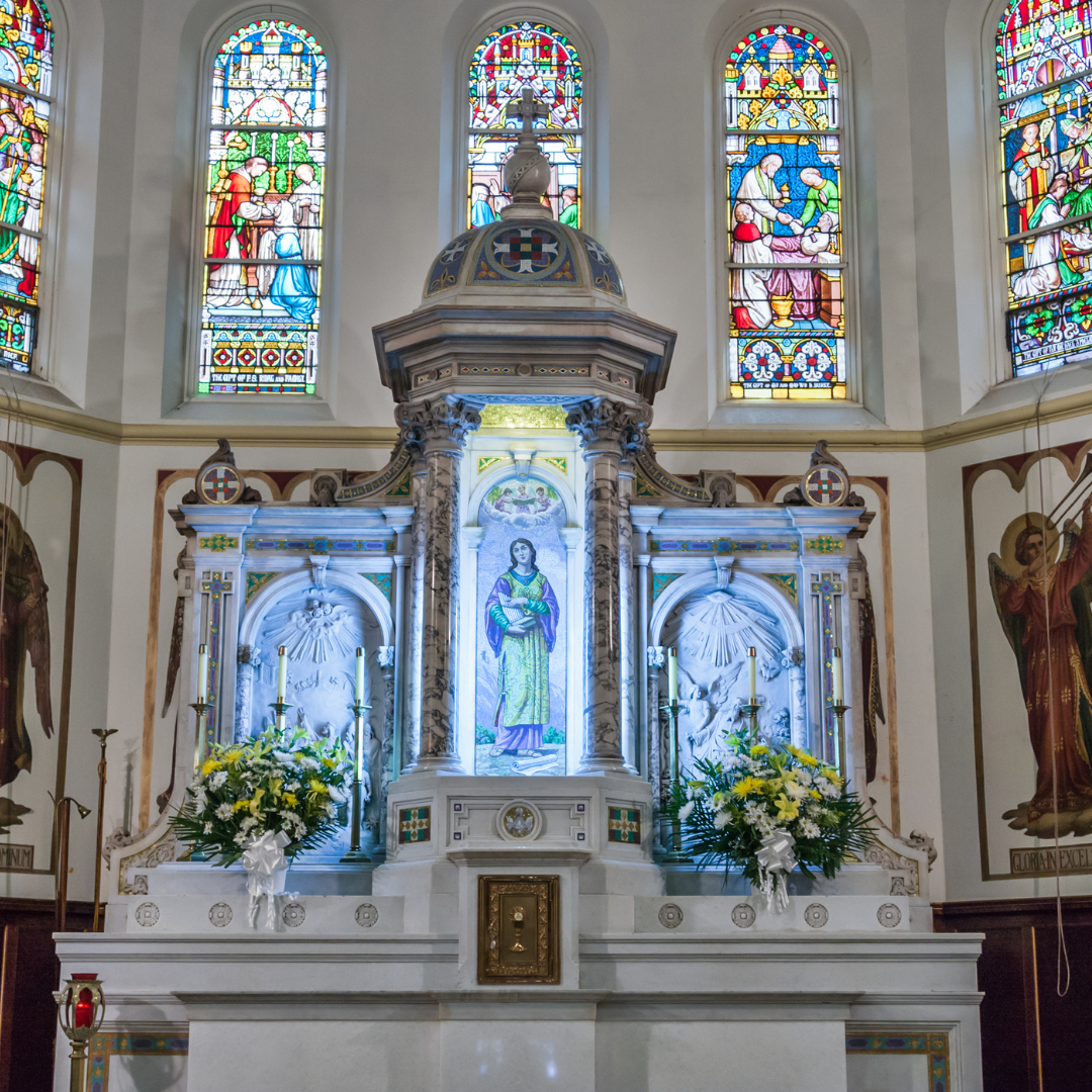church altar and stained glass windows