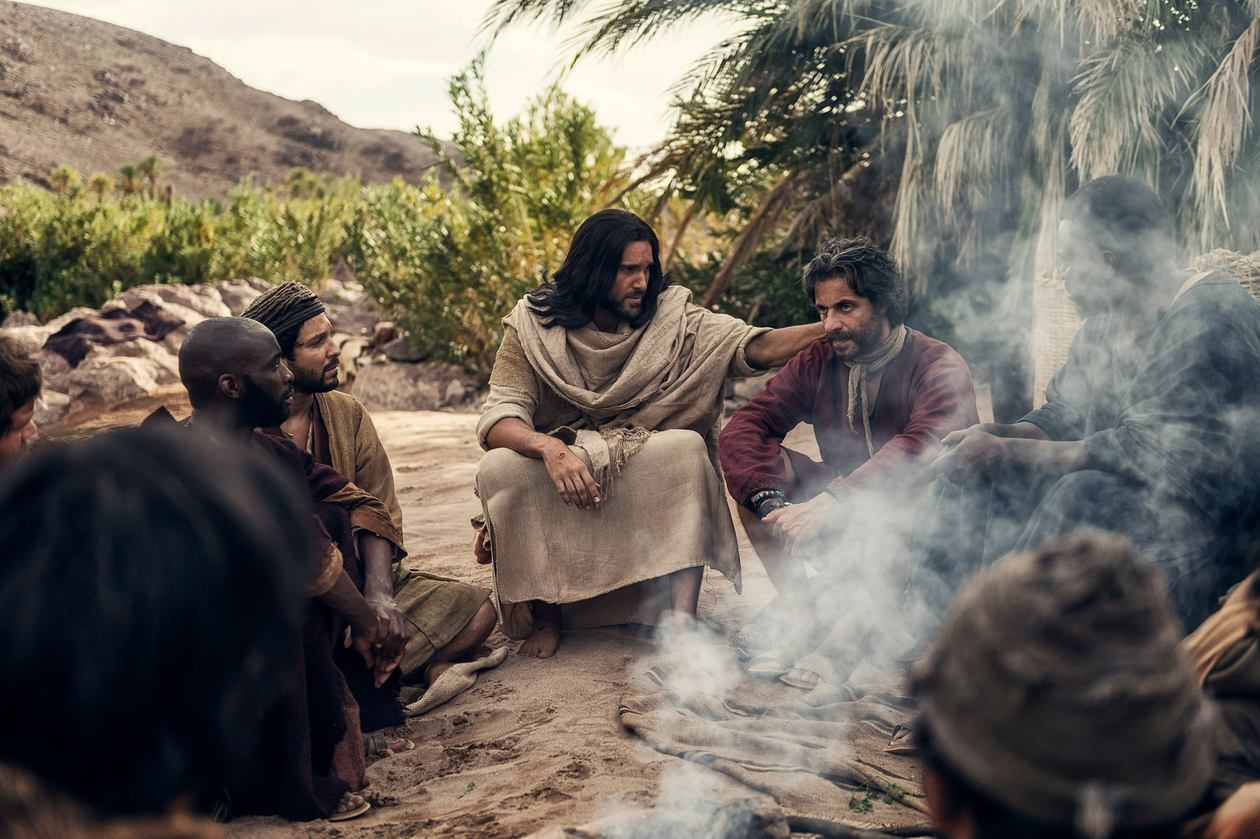 Jesus talking with Peter and the apostles after the Resurrection. From RESURRECTION movie