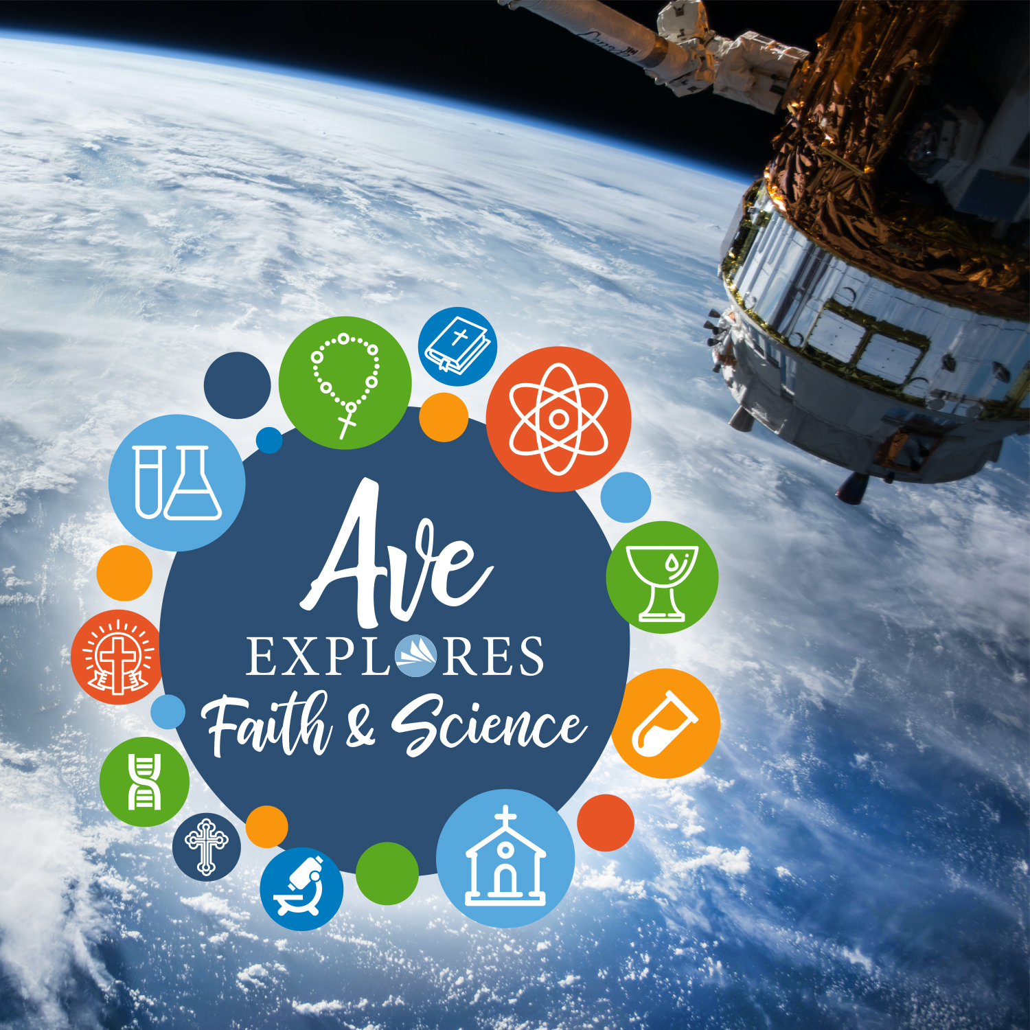 Ave Explores Faith and Science logo with space photo