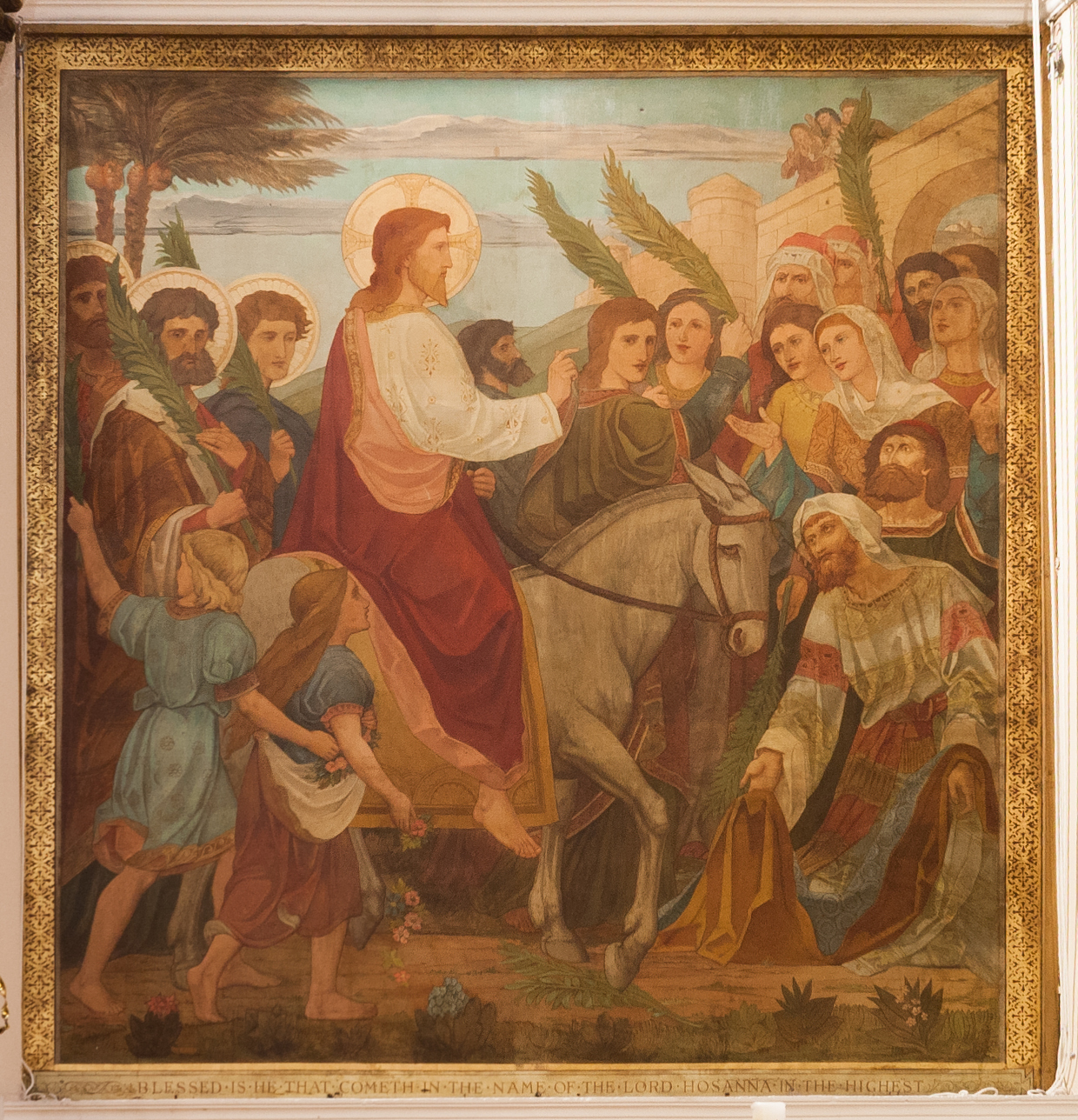"Belfast_St_Georges_Church_Sanctuary_Painting_by_Alexander_Gibbs_""Blessed_is_he_that_cometh_in_the_name_of_the_Lord._Hosanna_in_the_Highest.""_2018_08_24"