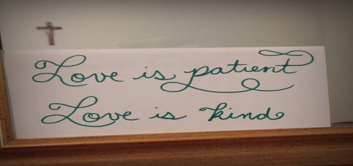 Love is Patient Love is Kind. Mom's Mantras. catholicmom.com