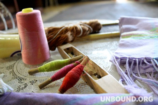 The tools mothers of sponsored children use to weave traditional fabrics in the Philippines. Image courtesy of Unbound