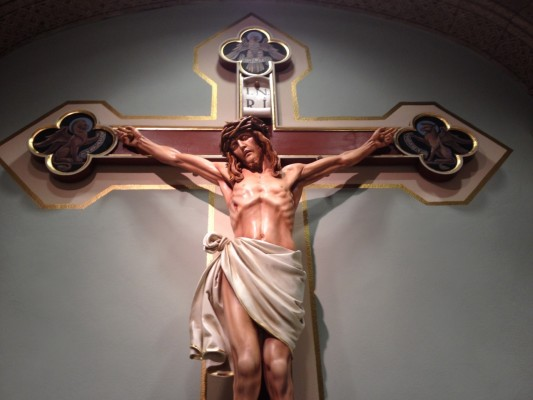 This is a crucifix found in St Francis of Assisi church, Springfield, IL.