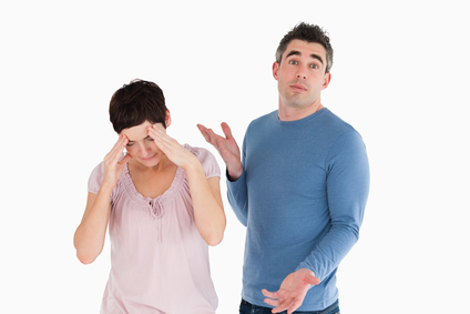Wife crying while her husband is wondering why