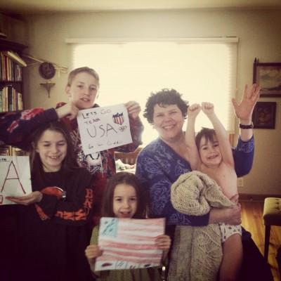 Alyssa Bormes, with family friends Meg, Julia, JP and Joseph. Go USA!