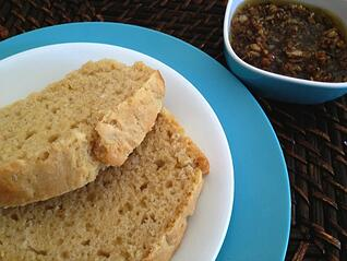 Homemade Beer Bread with Crispy Roasted Garlic and Olive Oil for Dipping