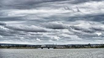 Big clouds and bridge
