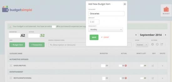 Adding a Budget Item
