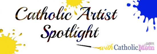 Catholic Artist Spotlight with paint blobs and stained glass font smaller blobs