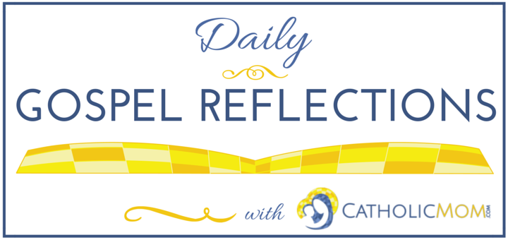 Catholic Mom Daily Gospel Reflections Logo with blue outline