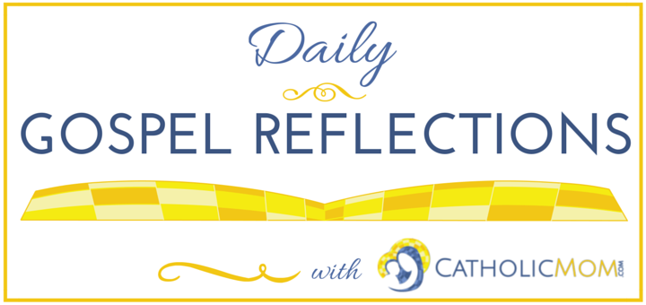 Catholic Mom Daily Gospel Reflections Logo with gold outline