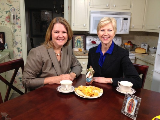Lisa and Donna-Marie on the set of Catholic Moms Cafe