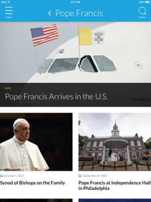 Screen capture of Catholic Church app's Pope Francis section.
