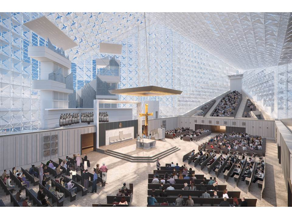 An interior rendering of the Christ Cathedral worship space.