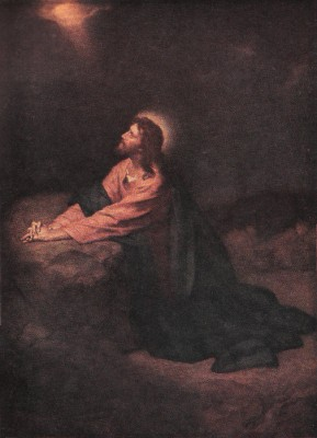 """""""Christ in Gethsemane"""" by Heinrich Hofmann - Self-scanned by User:JGHowes from 1945 print. Licensed under Public Domain via Wikimedia Commons"""