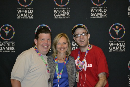 Daniel with fellow Special Olympics athlete Dustin Plunkett and Special Olympics, Inc. CEO Janet Froetscher. Photo by Daniel Smrokowski/ Special Chronicles
