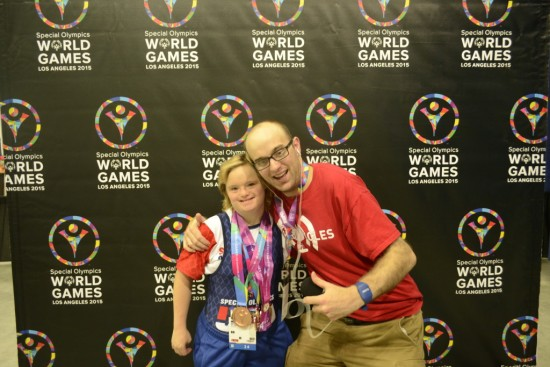 Daniel talks with multi-medal winning powerlifter Brittany Tregarthen of Special Olympics USA's Alaska delegation at Special Olympics World Games Los Angeles 2015. Photo by Daniel Smrokowski/Special Chronicles.