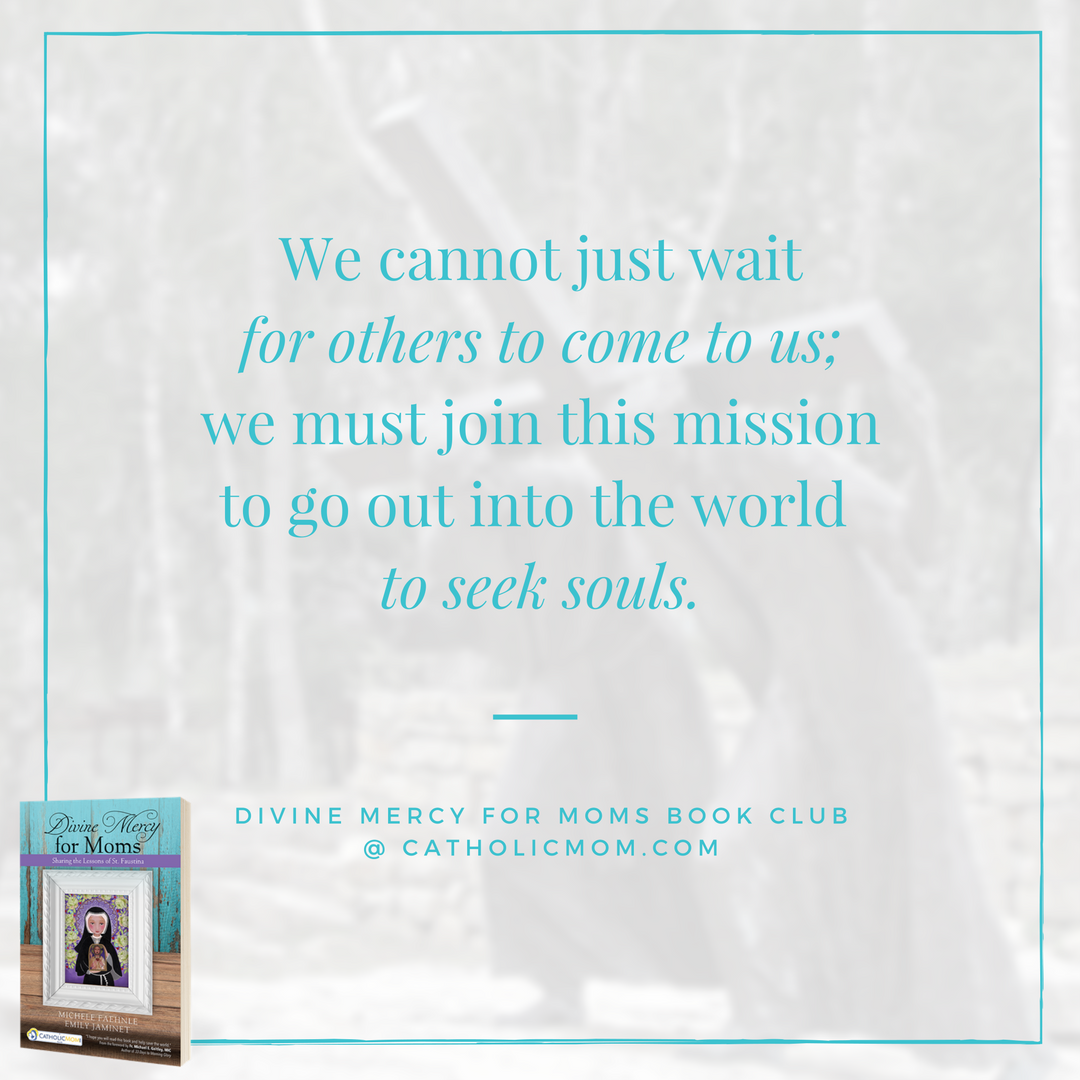 We cannot just wait for others to come to us; we must join this mission to go out into the world to seek souls. - Divine Mercy for Moms Book Club at CatholicMom.com