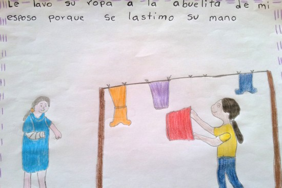 Translation: I washed the clothes of my husband's grandmother because she hurt her hand. Photo copyright 2015 Unbound. All rights reserved.