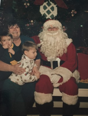 Our sons Brendan & Colin with their grandmother and Santa