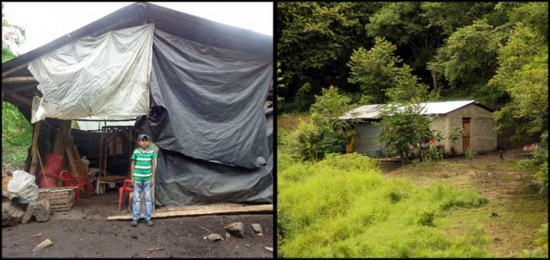 Left: Beneranda's son Franklin stands in front of the family's previous home, which only had plastic sheets to shield them from the environment. Right: The family's new home. Photo copyright 2015 Unbound. All rights reserved.