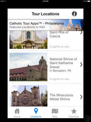 Screenshot, Catholic Tour Apps, Allison Gingras, 2015