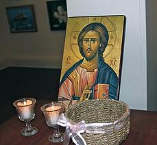 Jesus was the center of our spiritual spa day. Prayer intentions were placed in the basket near his icon.