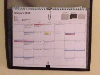 """The good: the master calendar that allegedly has everyone's """"stuff"""" on it. I reprint and repost it when the handwritten additions become too plentiful."""