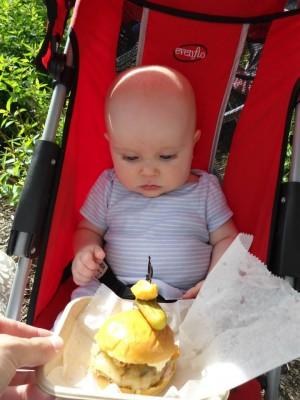 Little Ignatius and a burger