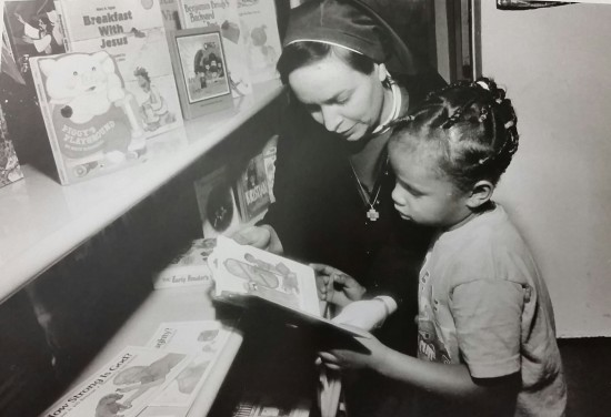 The author in 1996 at the opening of an inner city reading room in Chicago.
