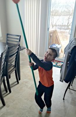 Luke Sweeping and Dancing