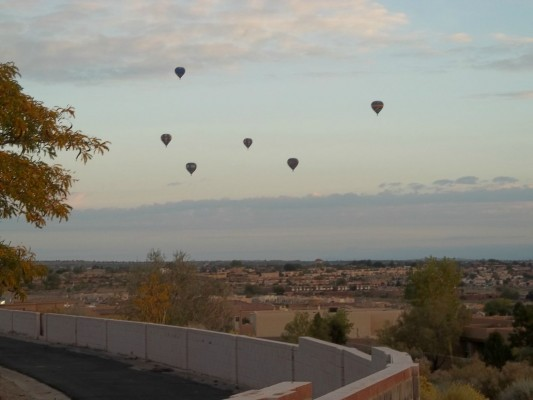 """""""New Mexico skies with balloons"""" copyright 2015 Judith Costello. All rights reserved."""