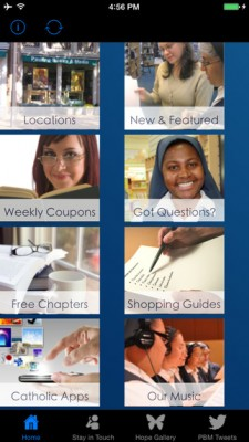 Pauline app menu page