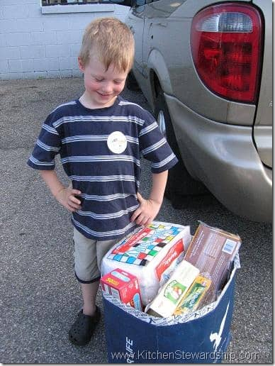 Paul with food to donate
