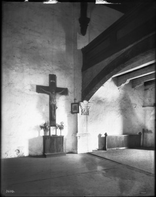 Crucifix in the choir loft at Mission San Gabriel Arcángel