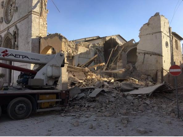 """""""Earthquake Topples Benedictine Basilica"""" by Barb Szyszkiewicz (CatholicMom.com)"""