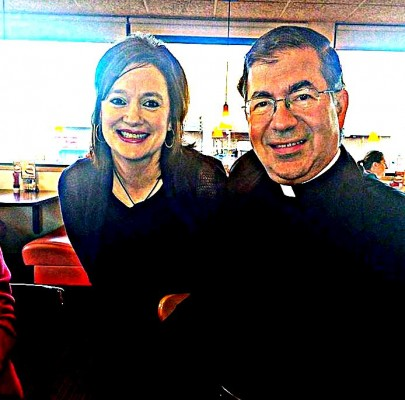 Roxane Salonen and Father Frank Pavone in Fargo, ND, Oct. 24, 2014
