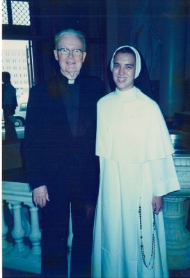 The author, Kelly Guest, as  Sr. Anne Joachim, O.P. with her beloved confessor, Fr. Henry Hughes