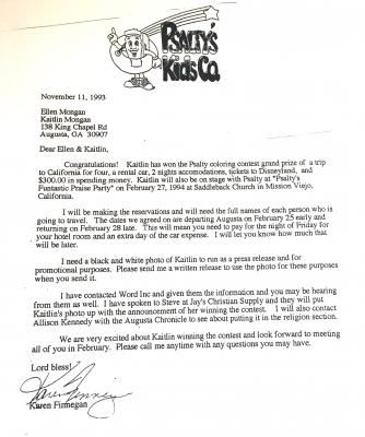 Psalty's award letter to Kaitlin Mongan